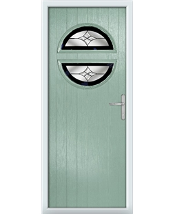 The Queensbury Composite Door in Green (Chartwell) with Black Crystal Harmony