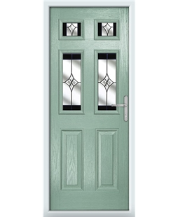 The Oxford Composite Door in Green (Chartwell) with Black Crystal Harmony