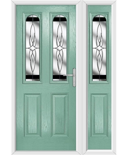 The Aberdeen Composite Door in Green (Chartwell) with Black Crystal Harmony and matching Side Panel