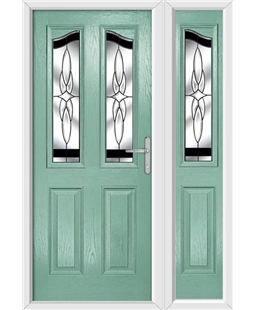 The Birmingham Composite Door in Green (Chartwell) with Black Crystal Harmony and matching Side Panel