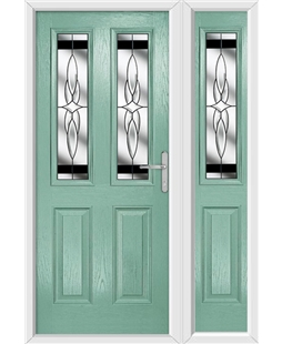 The Cardiff Composite Door in Green (Chartwell) with Black Crystal Harmony and matching Side Panel