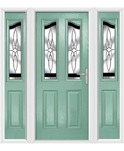 The Birmingham Composite Door in Green (Chartwell) with Black Crystal Harmony and matching Side Panels