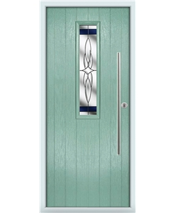 The York Composite Door in Green (Chartwell) with Blue Crystal Harmony