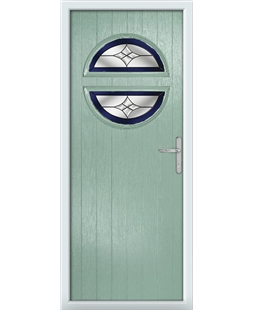 The Queensbury Composite Door in Green (Chartwell) with Blue Crystal Harmony