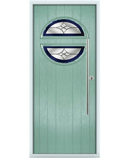 The Xenia Composite Door in Green (Chartwell) with Blue Crystal Harmony