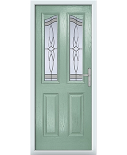 The Birmingham Composite Door in Green (Chartwell) with Crystal Harmony Frost
