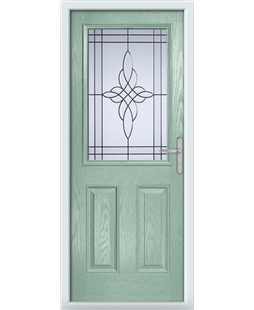 The Farnborough Composite Door in Green (Chartwell) with Crystal Harmony Frost