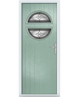 The Queensbury Composite Door in Green (Chartwell) with Crystal Harmony Frost