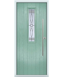 The York Composite Door in Green (Chartwell) with Crystal Harmony Frost