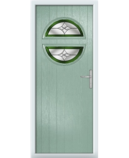 The Queensbury Composite Door in Green (Chartwell) with Green Crystal Harmony