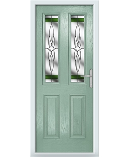 The Cardiff Composite Door in Green (Chartwell) with Green Crystal Harmony