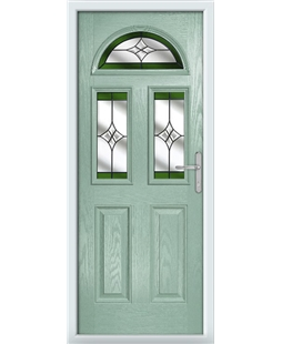 The Glasgow Composite Door in Green (Chartwell) with Green Crystal Harmony