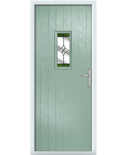 The Taunton Composite Door in Green (Chartwell) with Green Crystal Harmony