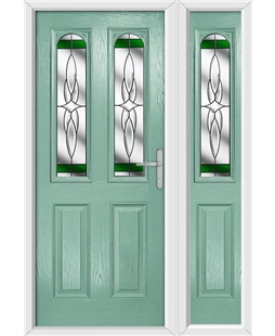 The Aberdeen Composite Door in Green (Chartwell) with Green Crystal Harmony and matching Side Panel