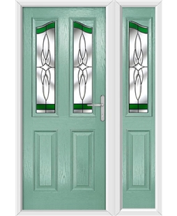 The Birmingham Composite Door in Green (Chartwell) with Green Crystal Harmony and matching Side Panel