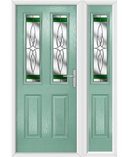 The Cardiff Composite Door in Green (Chartwell) with Green Crystal Harmony and matching Side Panel