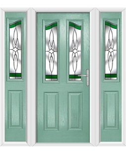 The Birmingham Composite Door in Green (Chartwell) with Green Crystal Harmony and matching Side Panels