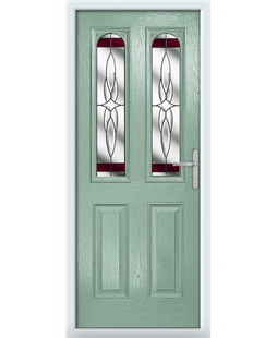 The Aberdeen Composite Door in Green (Chartwell) with Red Crystal Harmony