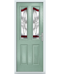 The Birmingham Composite Door in Green (Chartwell) with Red Crystal Harmony