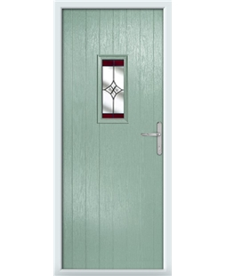 The Taunton Composite Door in Green (Chartwell) with Red Crystal Harmony