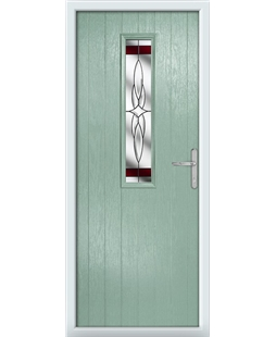 The Sheffield Composite Door in Green (Chartwell) with Red Crystal Harmony