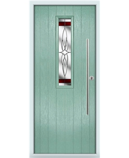 The York Composite Door in Green (Chartwell) with Red Crystal Harmony