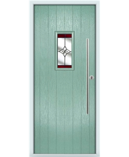 The Zetland Composite Door in Green (Chartwell) with Red Crystal Harmony