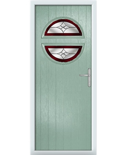 The Queensbury Composite Door in Green (Chartwell) with Red Crystal Harmony