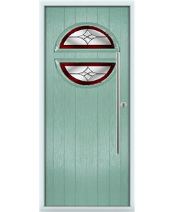 The Xenia Composite Door in Green (Chartwell) with Red Crystal Harmony