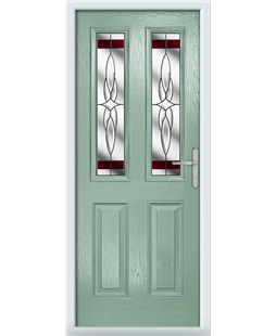 The Cardiff Composite Door in Green (Chartwell) with Red Crytsal Harmony