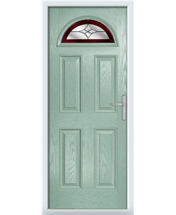 The Derby Composite Door in Green (Chartwell) with Red Crystal Harmony