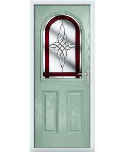 The Edinburgh Composite Door in Green (Chartwell) with Red Crystal Harmony