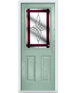 The Farnborough Composite Door in Green (Chartwell) with Red Crystal Harmony