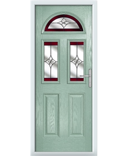The Glasgow Composite Door in Green (Chartwell) with Red Crystal Harmony
