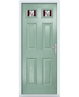 The Ipswich Composite Door in Green (Chartwell) with Red Crystal Harmony
