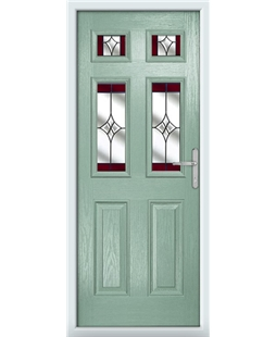 The Oxford Composite Door in Green (Chartwell) with Red Crystal Harmony