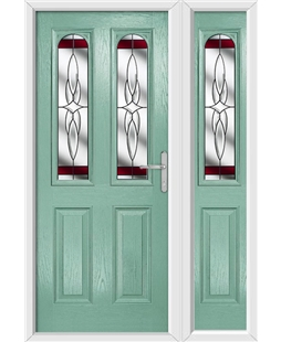 The Aberdeen Composite Door in Green (Chartwell) with Red Crystal Harmony and matching Side Panel
