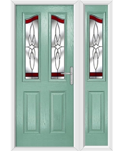 The Birmingham Composite Door in Green (Chartwell) with Red Crystal Harmony and matching Side Panel