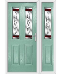 The Cardiff Composite Door in Green (Chartwell) with Red Crystal Harmony and matching Side Panel