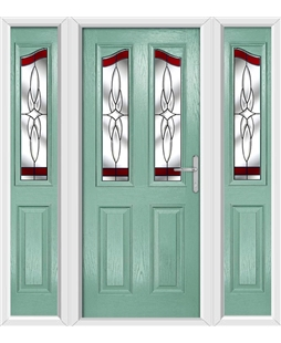 The Birmingham Composite Door in Green (Chartwell) with Red Crystal Harmony and matching Side Panels