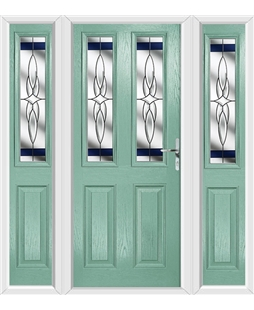 The Cardiff Composite Door in Green (Chartwell) with Blue Crystal Harmony and matching Side Panels