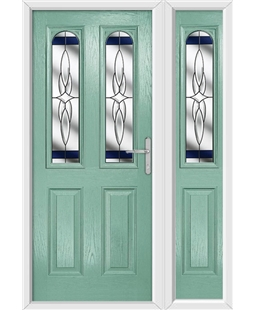 The Aberdeen Composite Door in Green (Chartwell) with Blue Crystal Harmony and matching Side Panel
