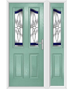 The Birmingham Composite Door in Green (Chartwell) with Crystal Harmony and matching Side Panel