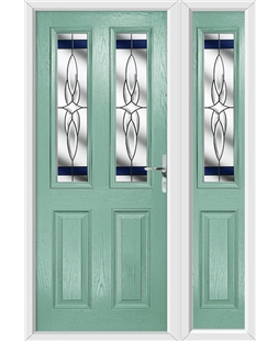 The Cardiff Composite Door in Green (Chartwell) with Blue Crystal Harmony and matching Side Panel