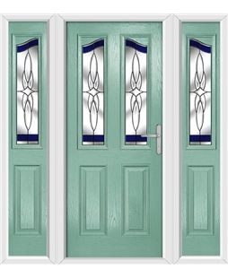 The Birmingham Composite Door in Green (Chartwell) with Blue Crystal Harmony and matching Side Panels