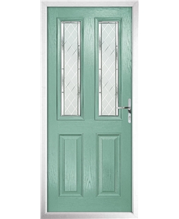 The Cardiff Composite Door in Green (Chartwell) with Diamond Cut