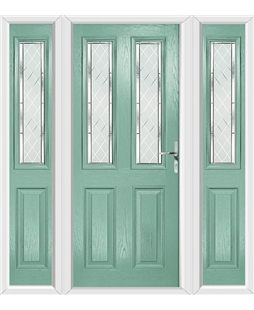 The Cardiff Composite Door in Green (Chartwell) with Diamond Cut and matching Side Panels