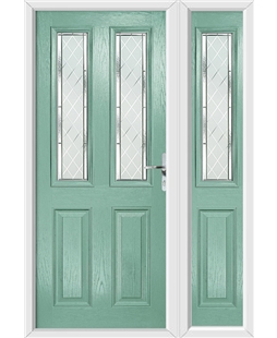 The Cardiff Composite Door in Green (Chartwell) with Diamond Cut and matching Side Panel