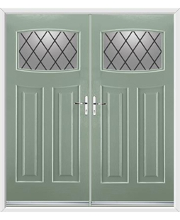 Newark French Rockdoor in Chartwell Green with Diamond Lead