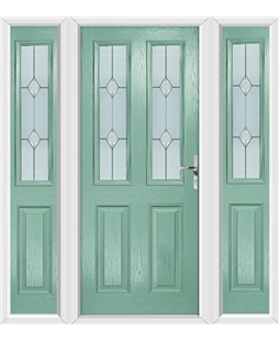 The Cardiff Composite Door in Green (Chartwell) with Classic Glazing and matching Side Panels